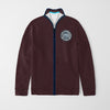 A&F Fleece Full Zipper Mock Neck Jacket For Men-Dark Burgundy Melange-NA7778