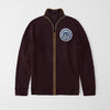 A&F Fleece Full Zipper Mock Neck Jacket For Men-Dark Maroon-NA7760