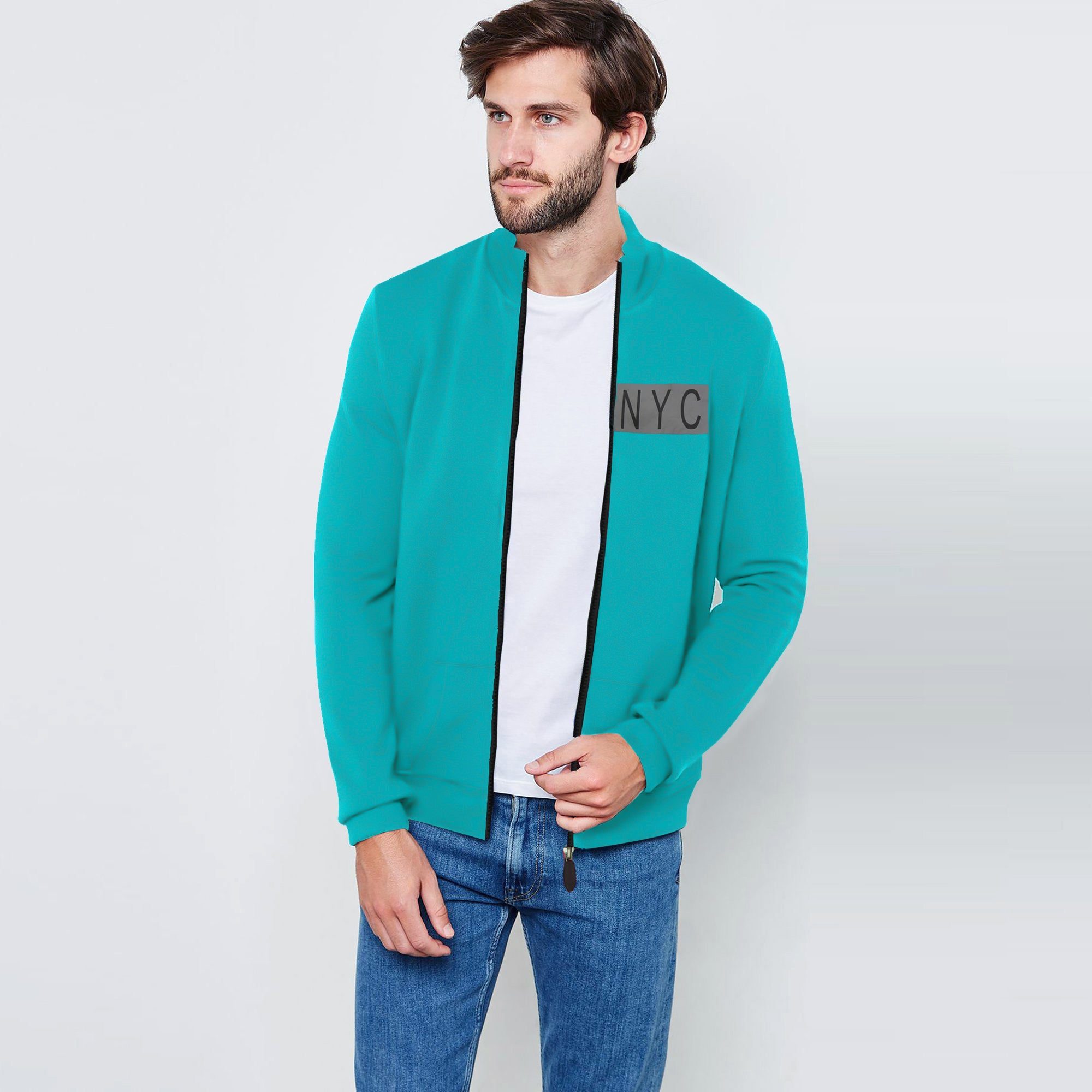 Nyc Polo Fleece Full Zipper Mock Neck Jacket For Men-Dark Cyan-SP1716