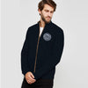 A&F Fleece Full Zipper Mock Neck Jacket For Men-Dark Navy-NA7748