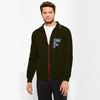 A&F Fleece Full Zipper Mock Neck Jacket For Men-Dark Olive Green-NA7750