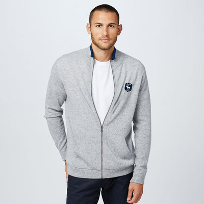 A&F Fleece Full Zipper Mock Neck Jacket For Men-Grey Melange-NA7640