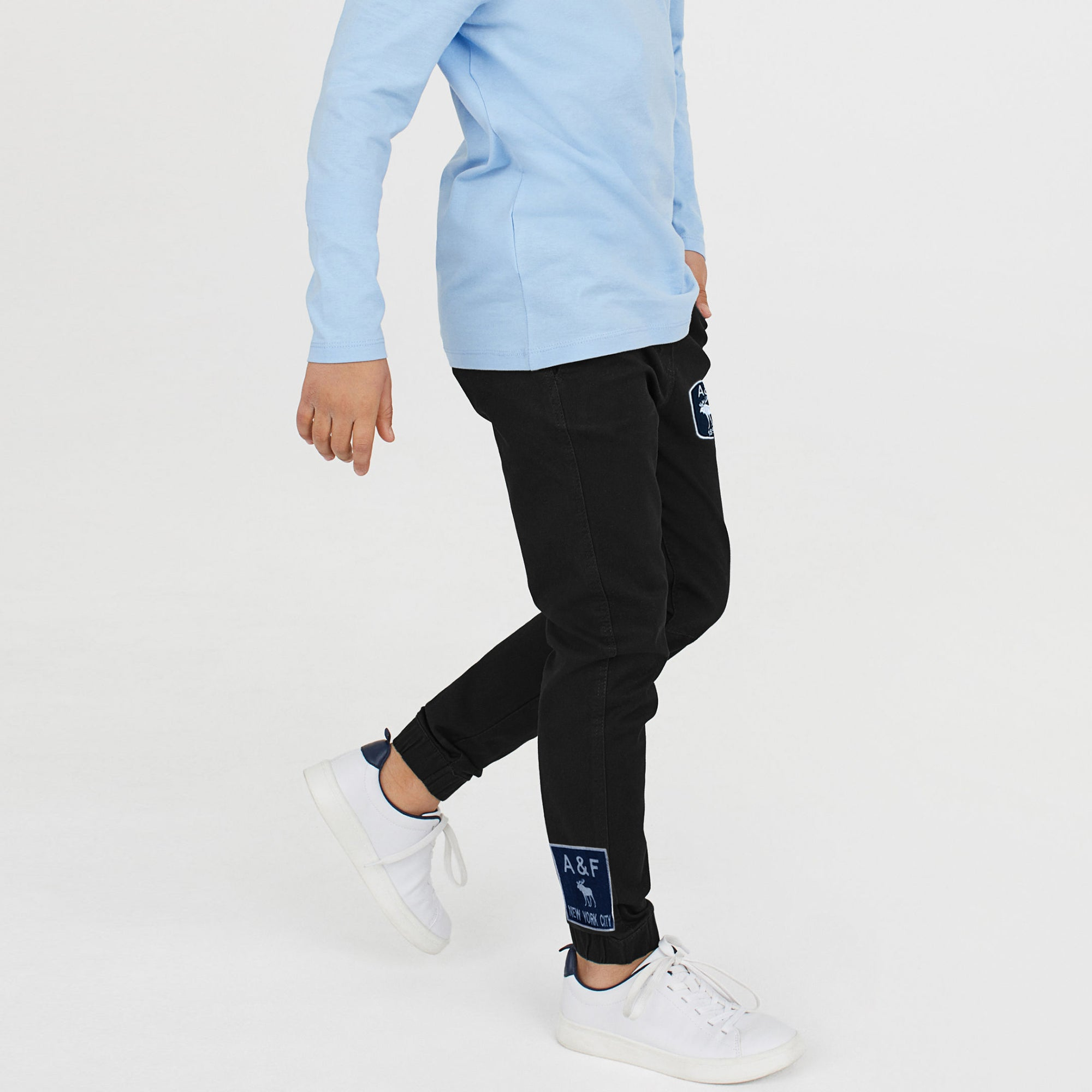 A&F Fleece Jogger Trouser For Kids-Black-BE7899