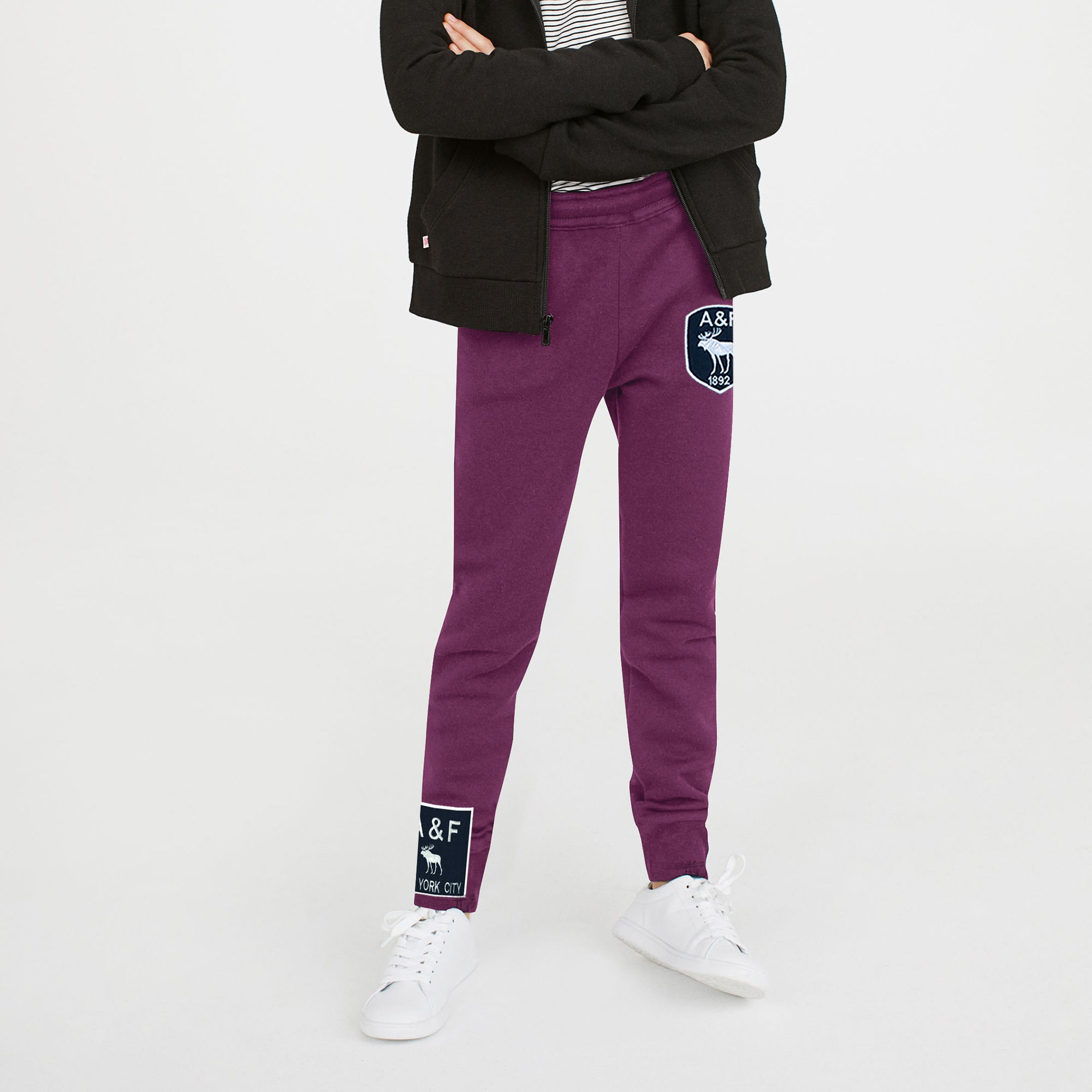 A&F Fleece Jogger Trouser For Kids-Dark Pink-BE7898