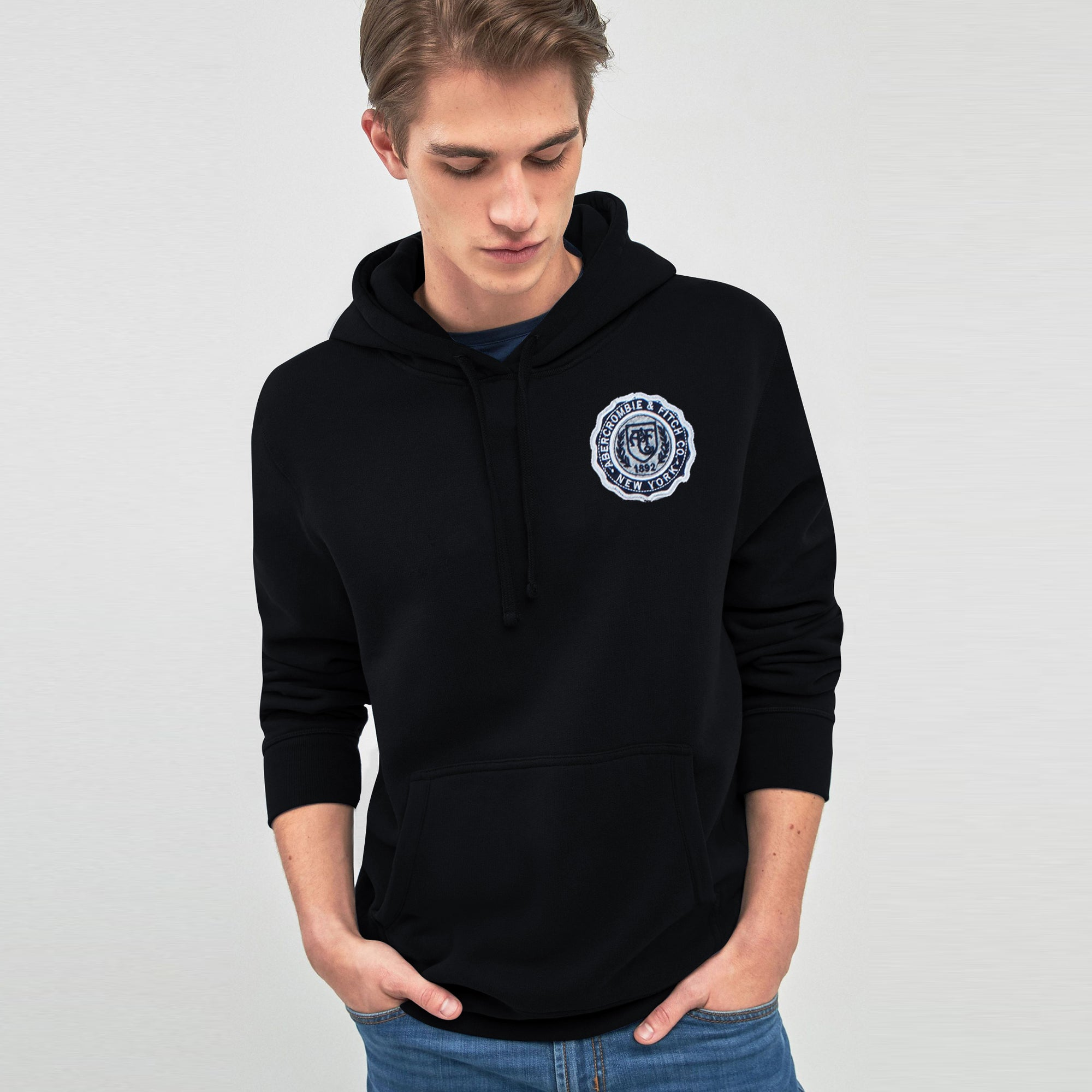 A&F Fleece Pullover Hoodie For Men-Black-BE7789