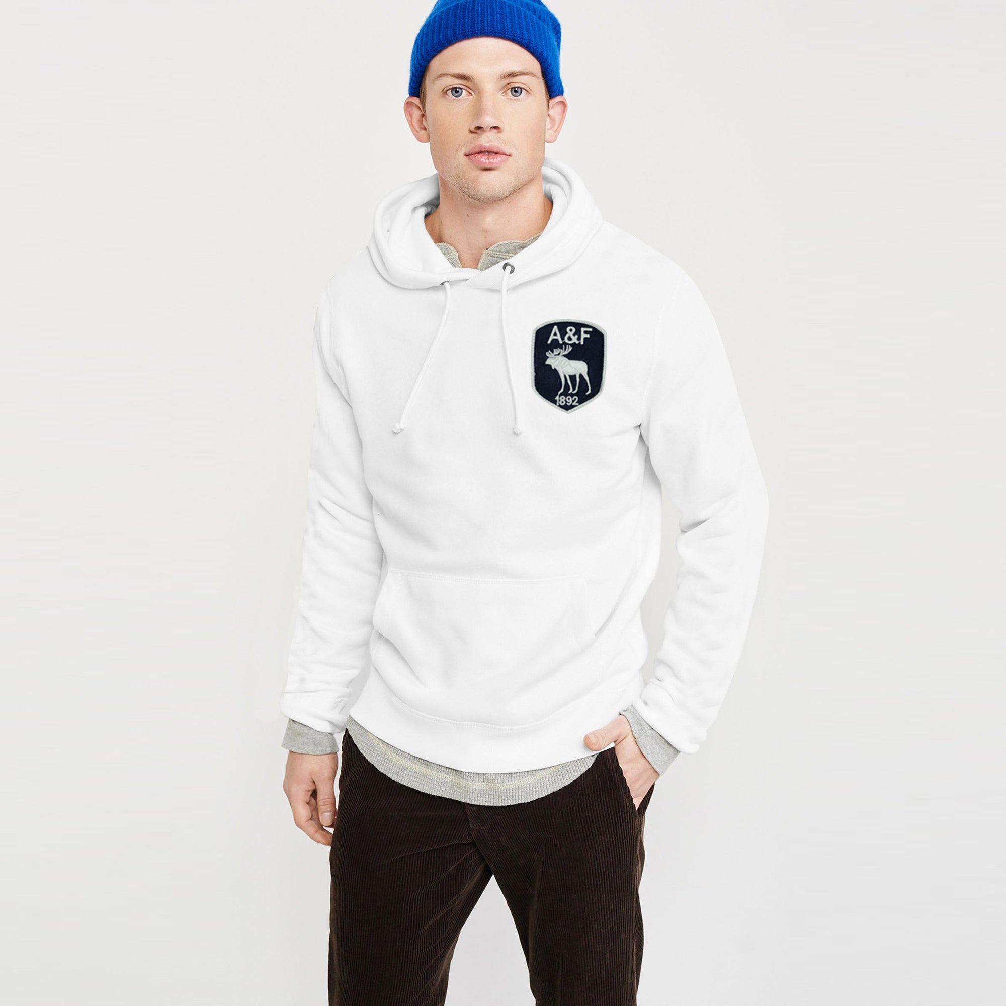 A&F Fleece Pullover Hoodie For Men-White-BE7762