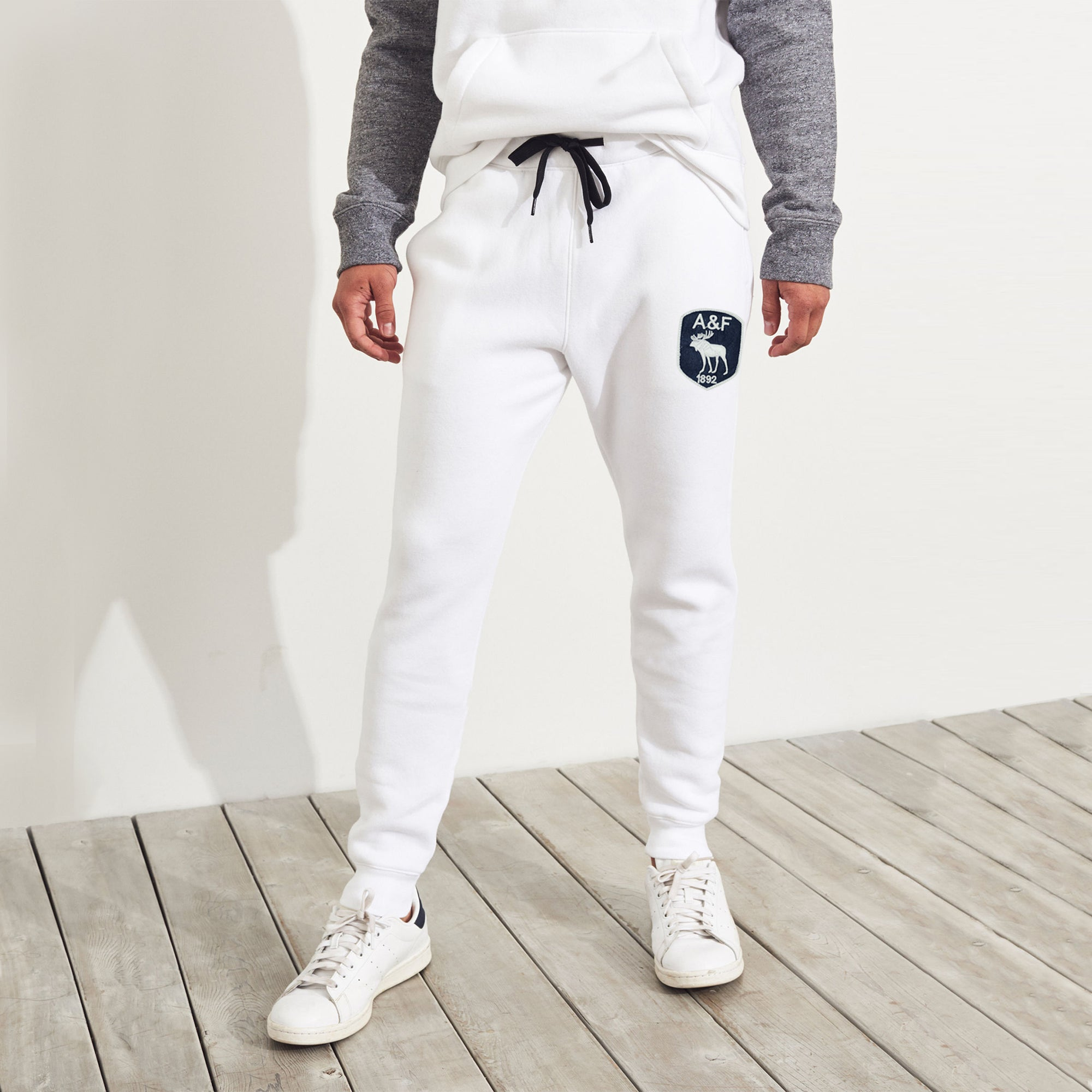 A&F Fleece Slim Fit Jogger Trouser For Men-White-BE7809