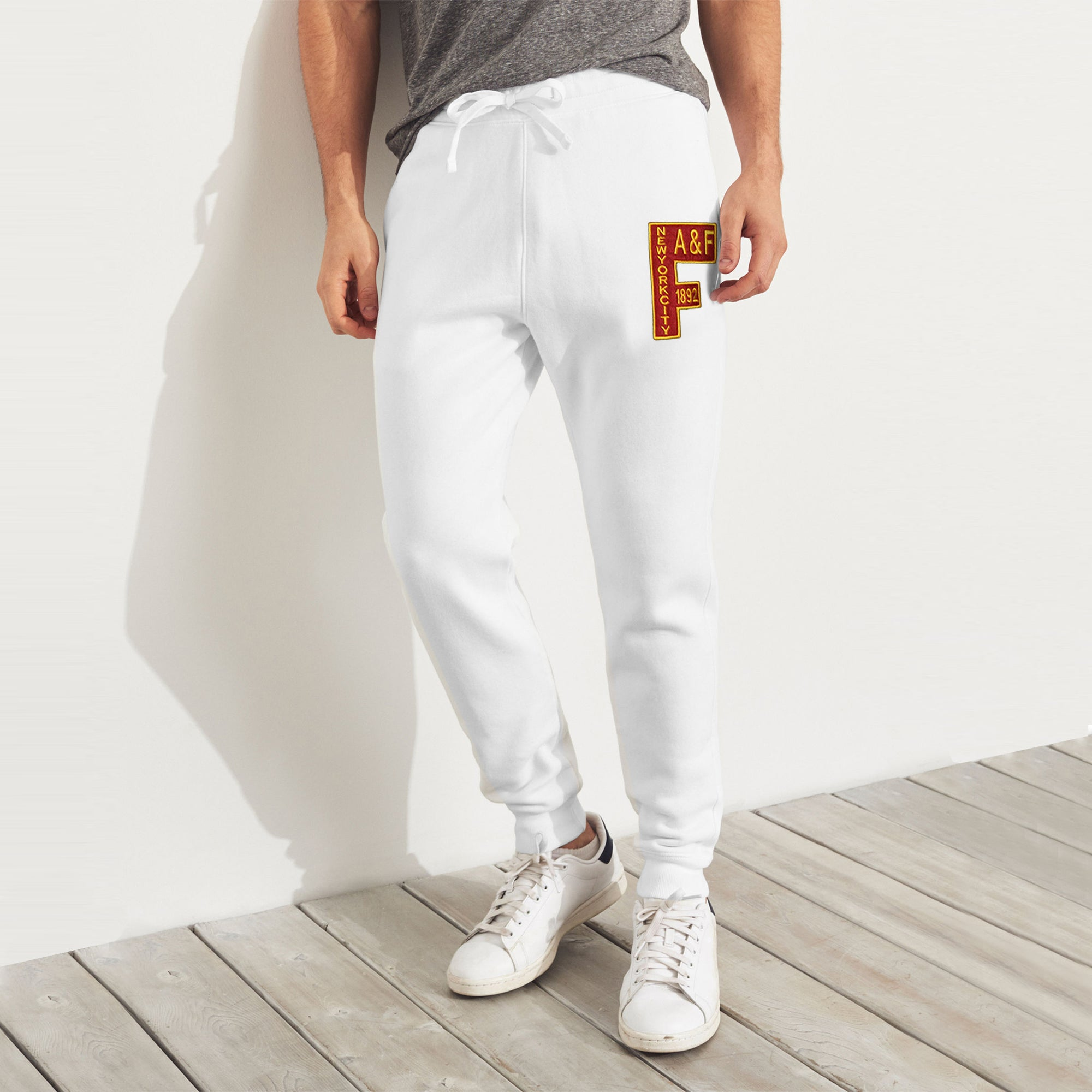 A&F Fleece Slim Fit Jogger Trouser For Men-White-BE7816