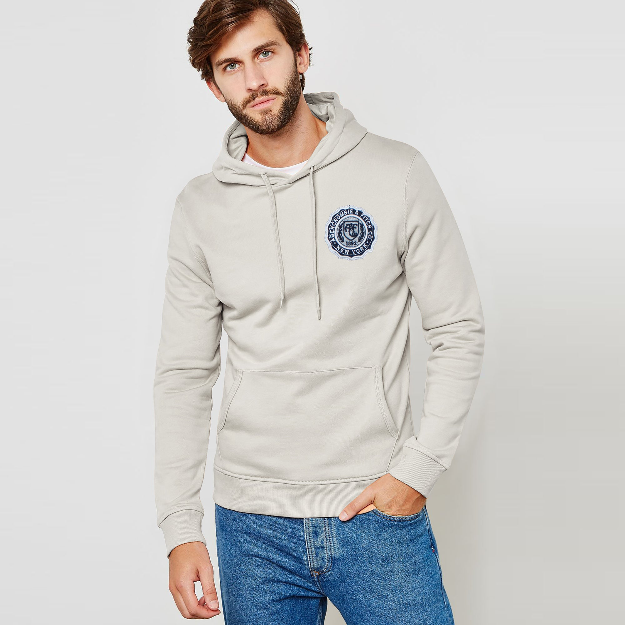 A&F Fleece Zipper Hoodie For Men-Off White-BE7768