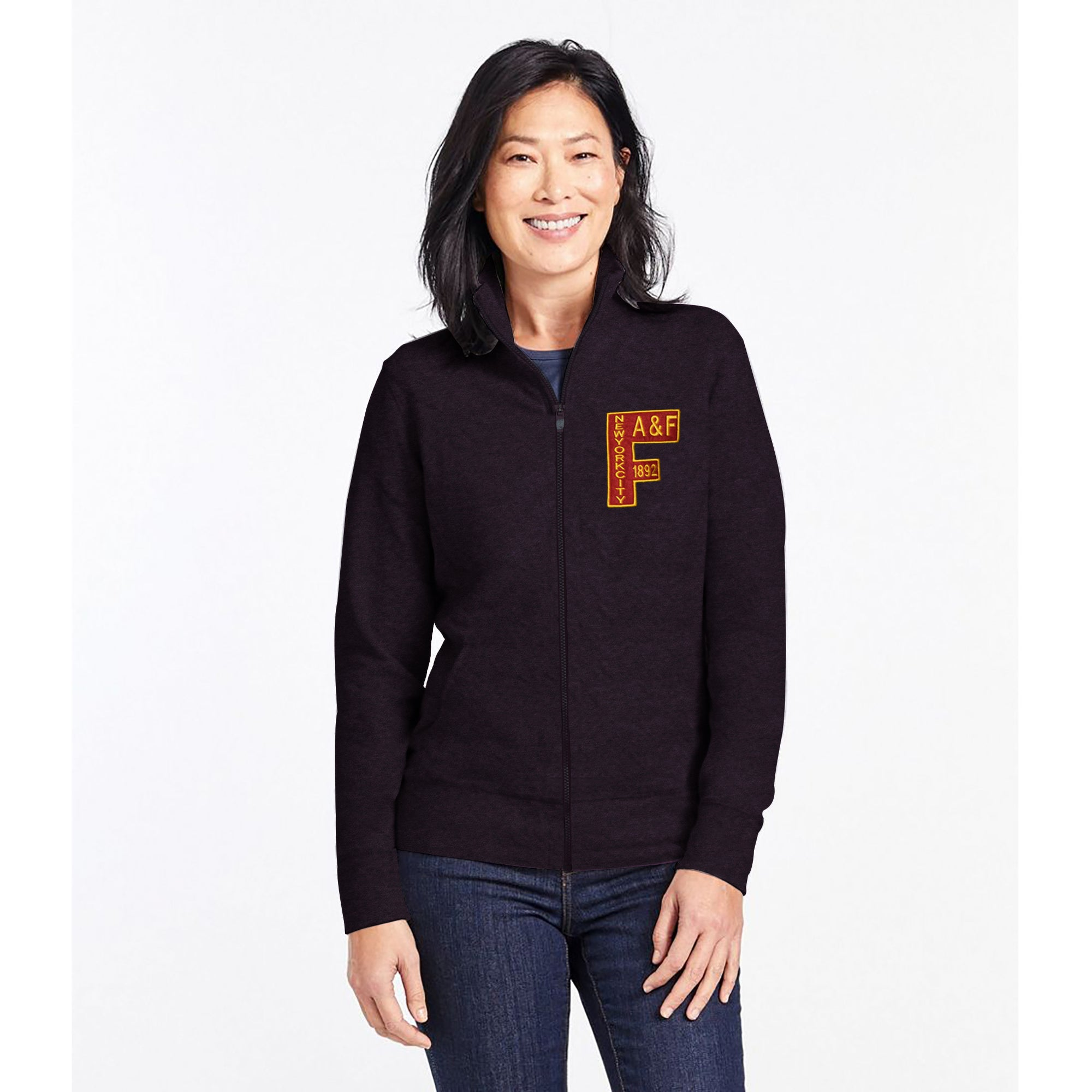 A&F Fleece Zipper Mock Neck For Ladies-Maroon Melange-BE7744