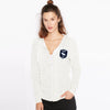 A&F Fleece Zipper Mock Neck For Ladies-Off White Melange-BE7916