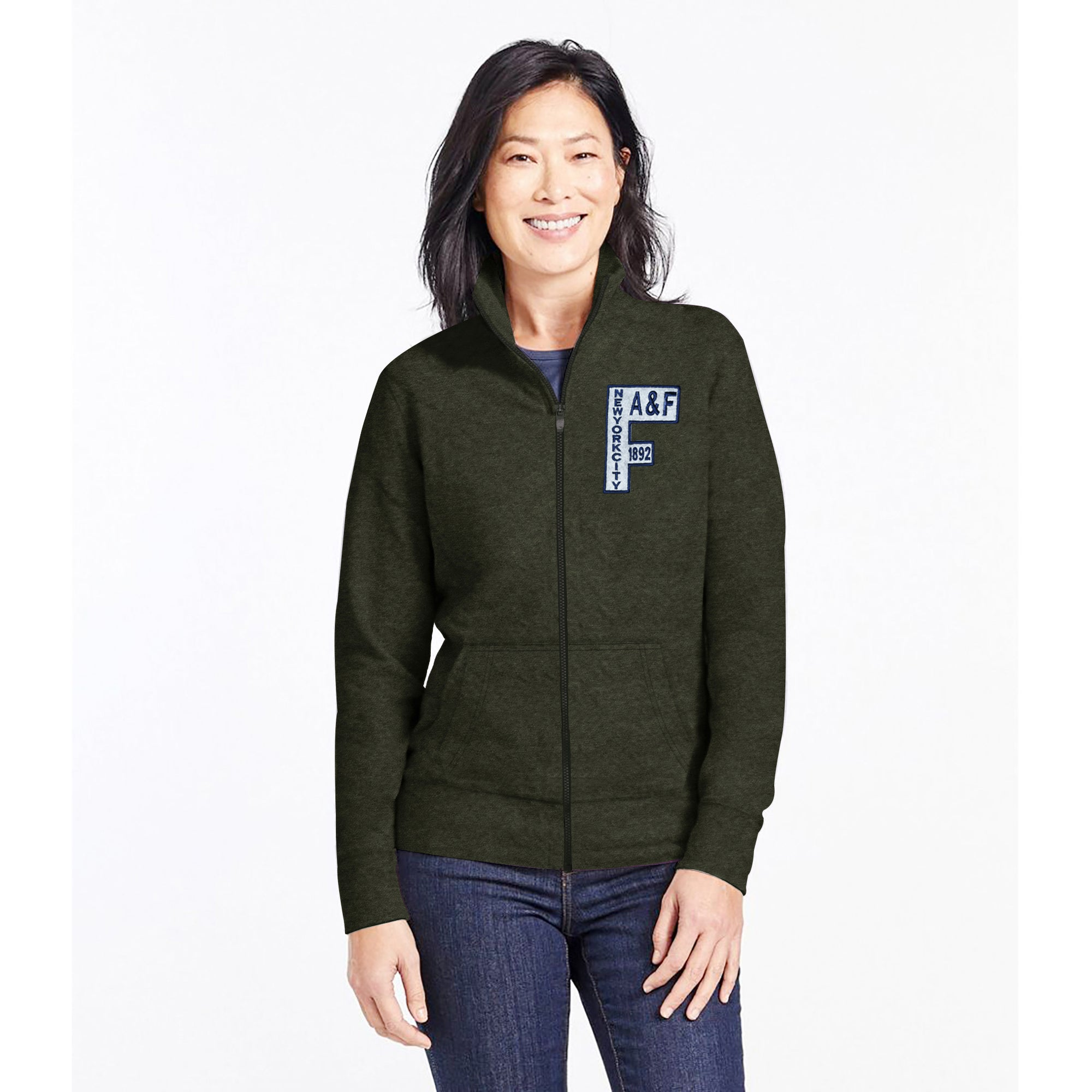 A&F Fleece Zipper Mock Neck For Ladies-Olive Green Melange-BE7759