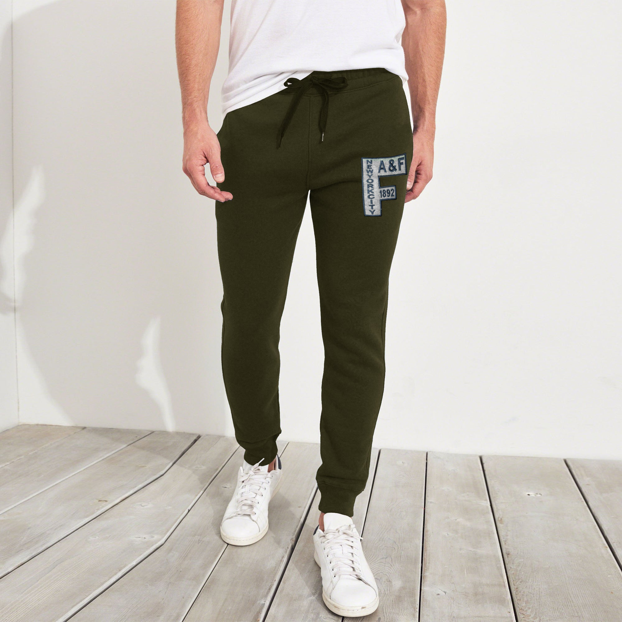 A&F Slim Fit Fleece Jogger Trouser For Men-Dark Olive Green-NA7747