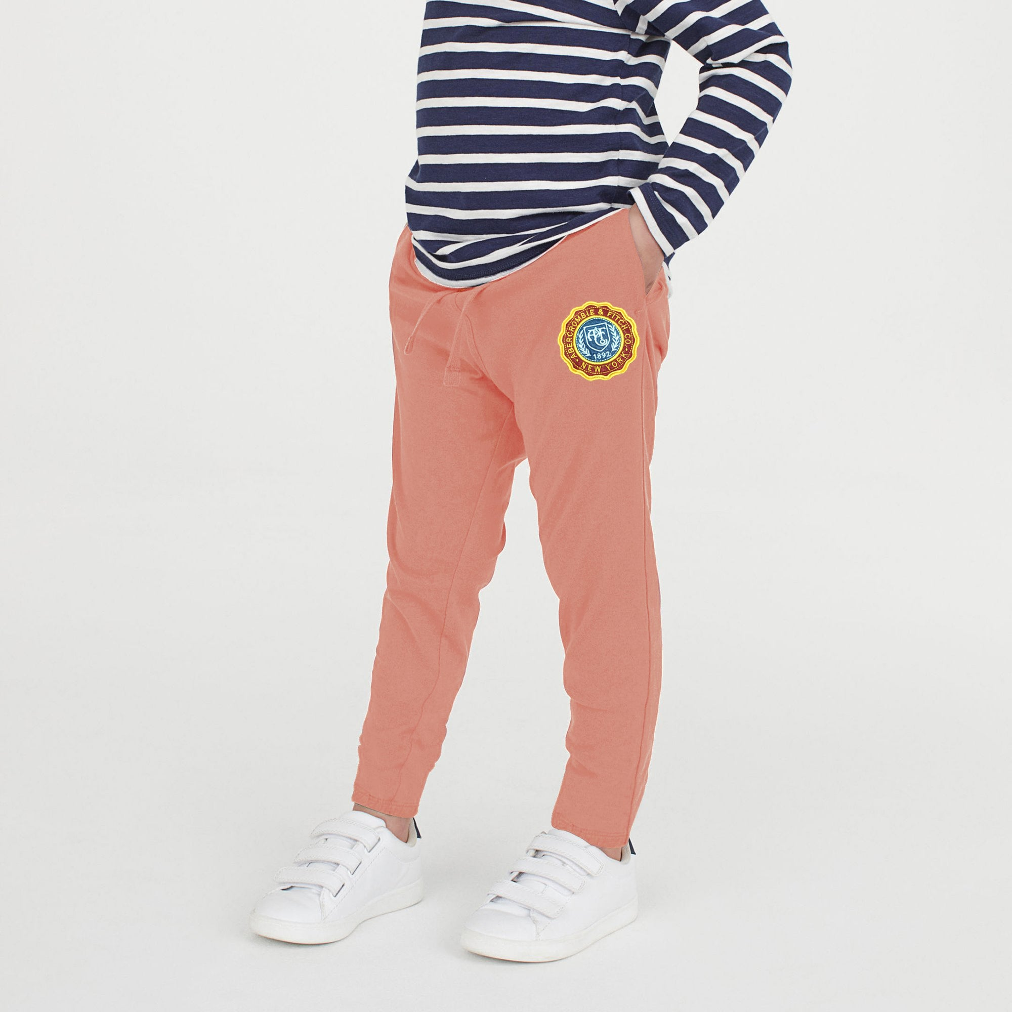 A&F Terry Fleece Jogger Trouser For Kids-Light Coral Pink-NA7752