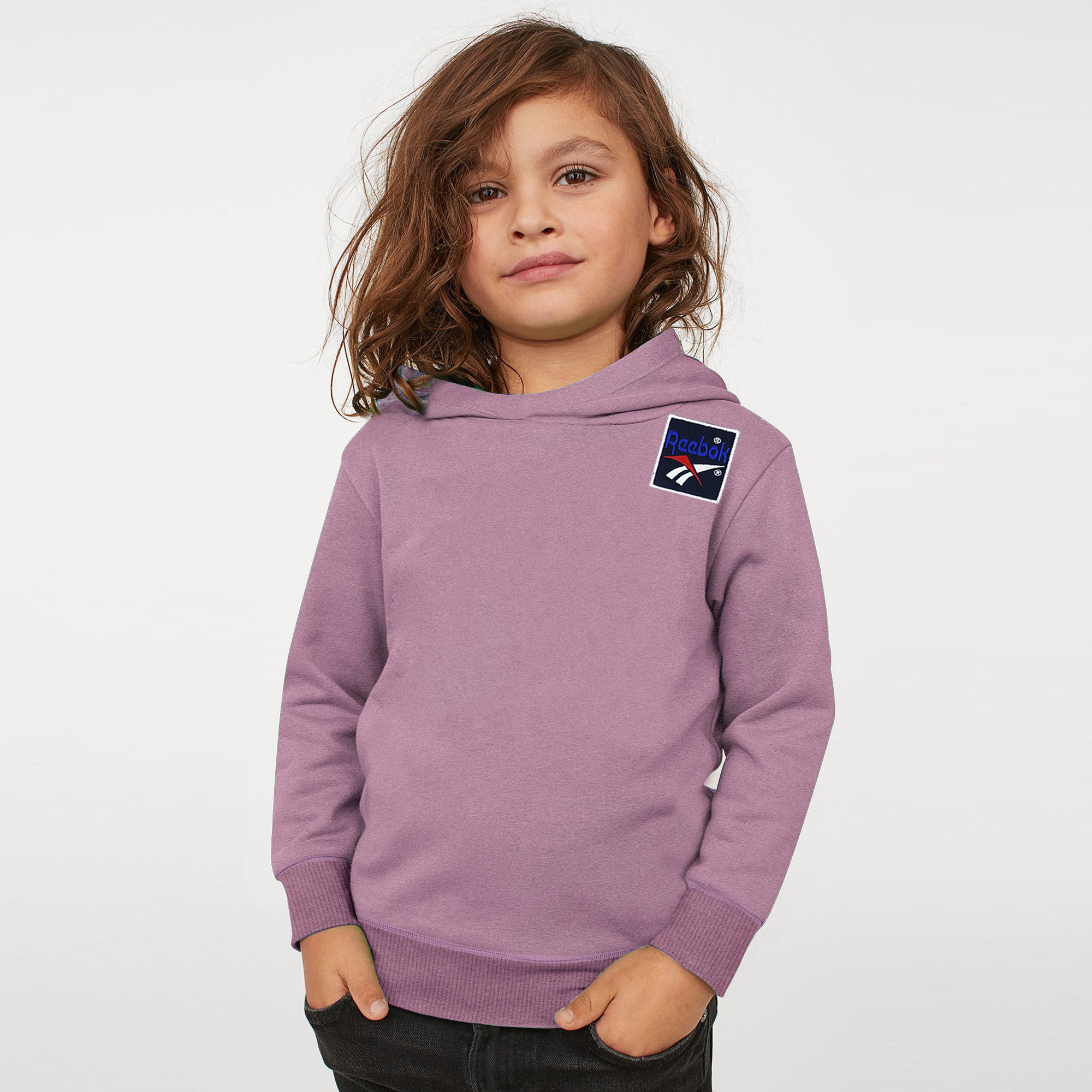 Reebok Terry Fleece Pullover Hoodie For Kids-Pink Melange-BE7893
