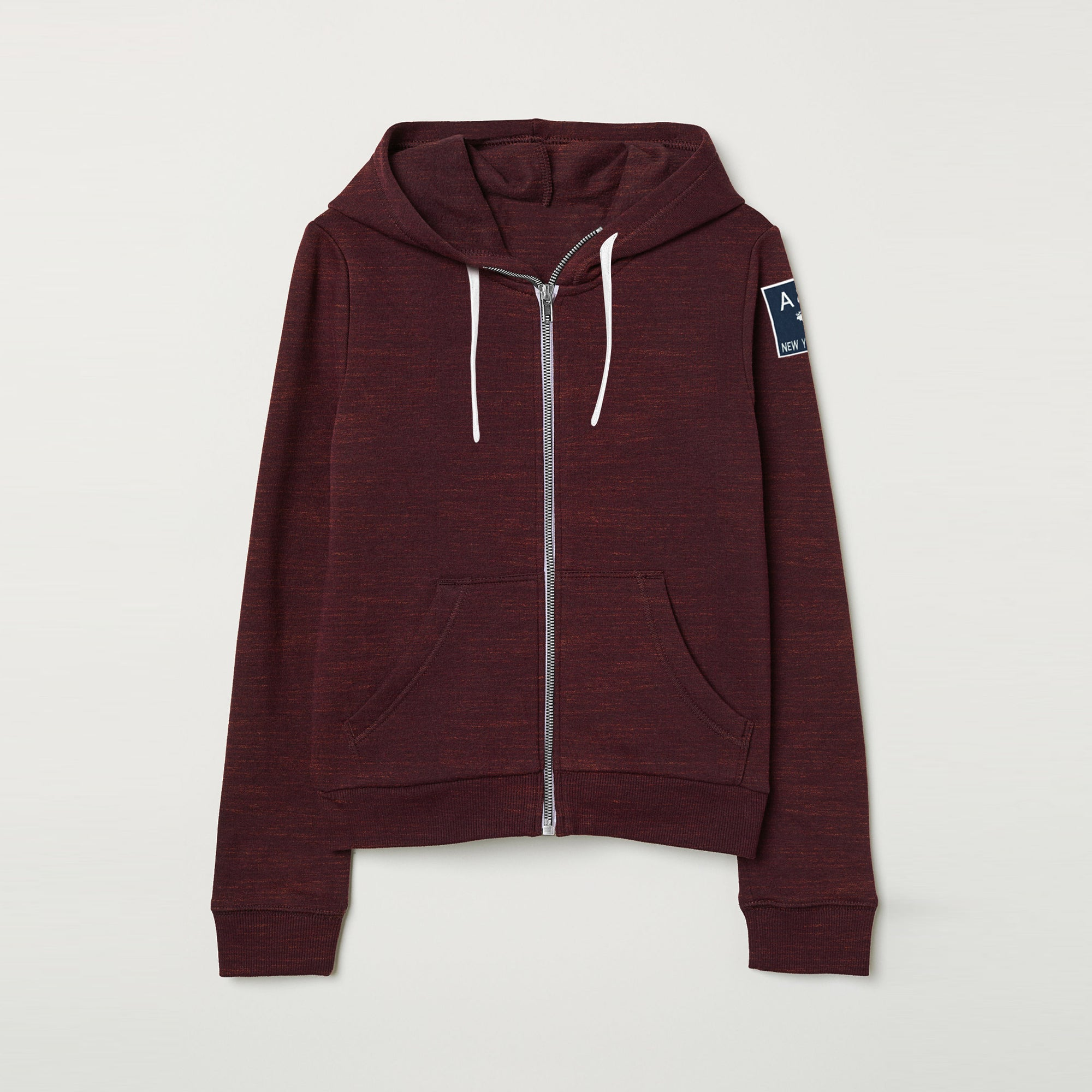 A&F Terry Fleece Zipper Hoodie For Ladies-Maroon Melange-BE7913