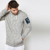 A&F Terry Fleece Zipper Hoodie For Men-White & Black Melange-BE7907