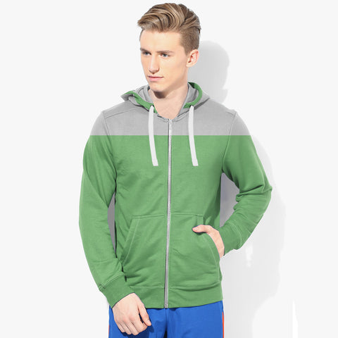"Mens Cut Label ""Next"" Zipper Hoodie Fleece -Gray & Green-CLH34"