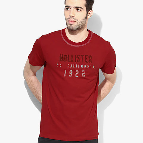 "Men's ""Hollister"" Short Sleeves Fashion Crew Neck With Aplic - Red (HS724)"