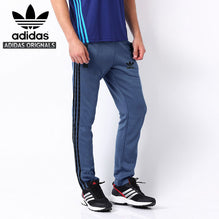 Adidas Cotton Trouser For Men-Dark Blue With Black Pocket & Stripes-BE1072