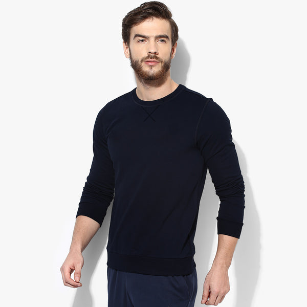 "Men's Cut Label ""Next"" Crew Neck Sweatshirt-Dark Navy- F&F04"