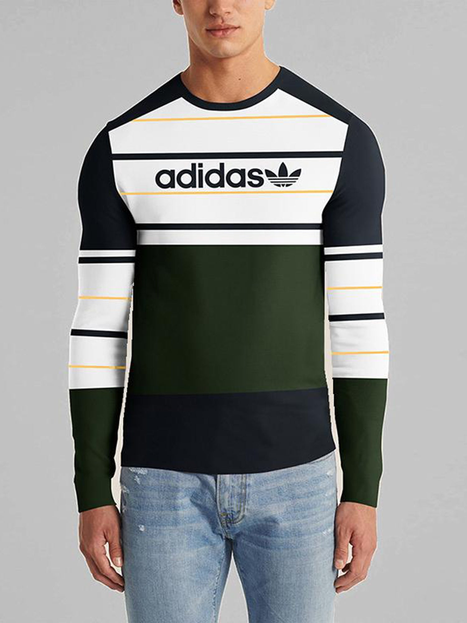 ADS Crew Neck Long Sleeve Tee Shirt For Men-Dark Navy -White-Green With Panels-NA10746