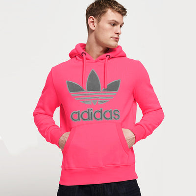 Adidas Fleece Pullover Hoodie For Men-Pale Pink-NA10283