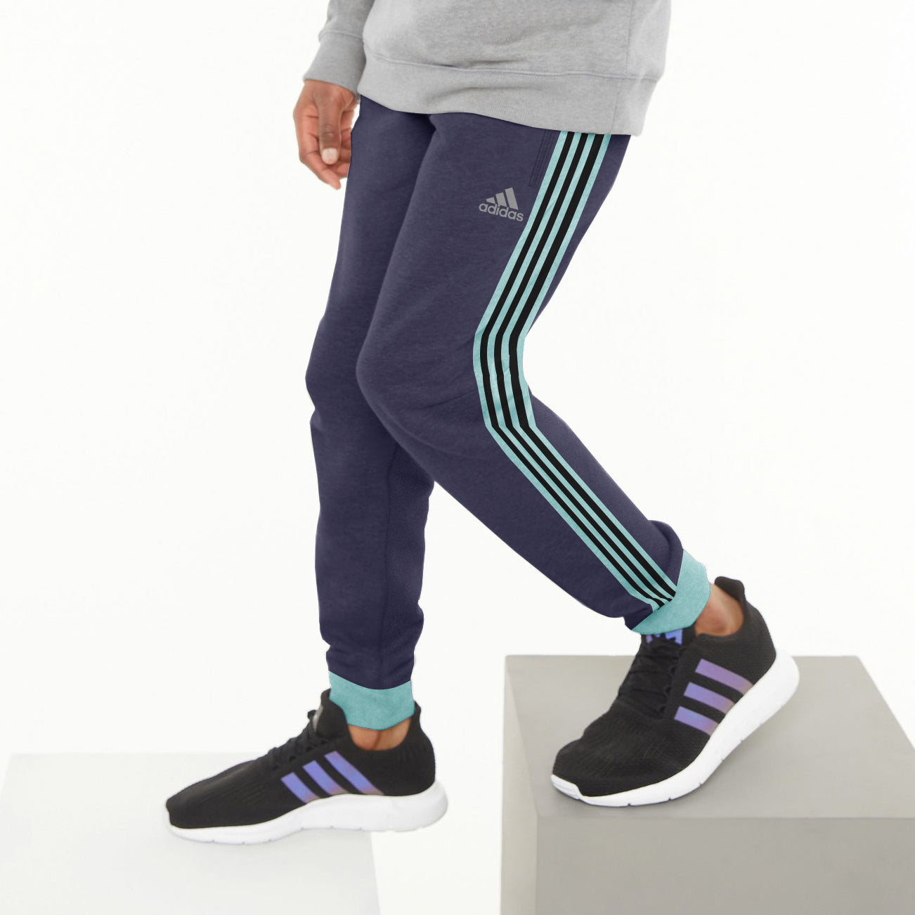 Adidas Single Jersey Jogger Trouser For Kids-Blue Melange With Stripes-NA8635