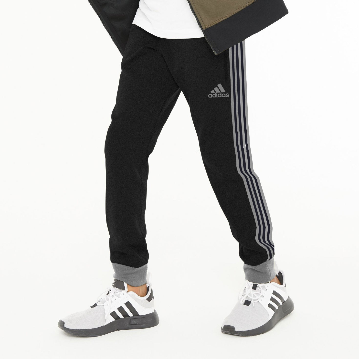 Adidas Single Jersey Jogger Trouser For Kids-Charcoal Melange With Stripes-NA8636