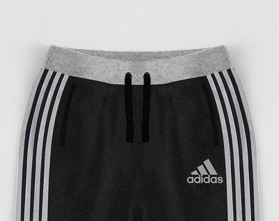 brandsego - Adidas Single Jersey Jogger Trouser For Kids-Charcoal Melange With Stripes-NA8636