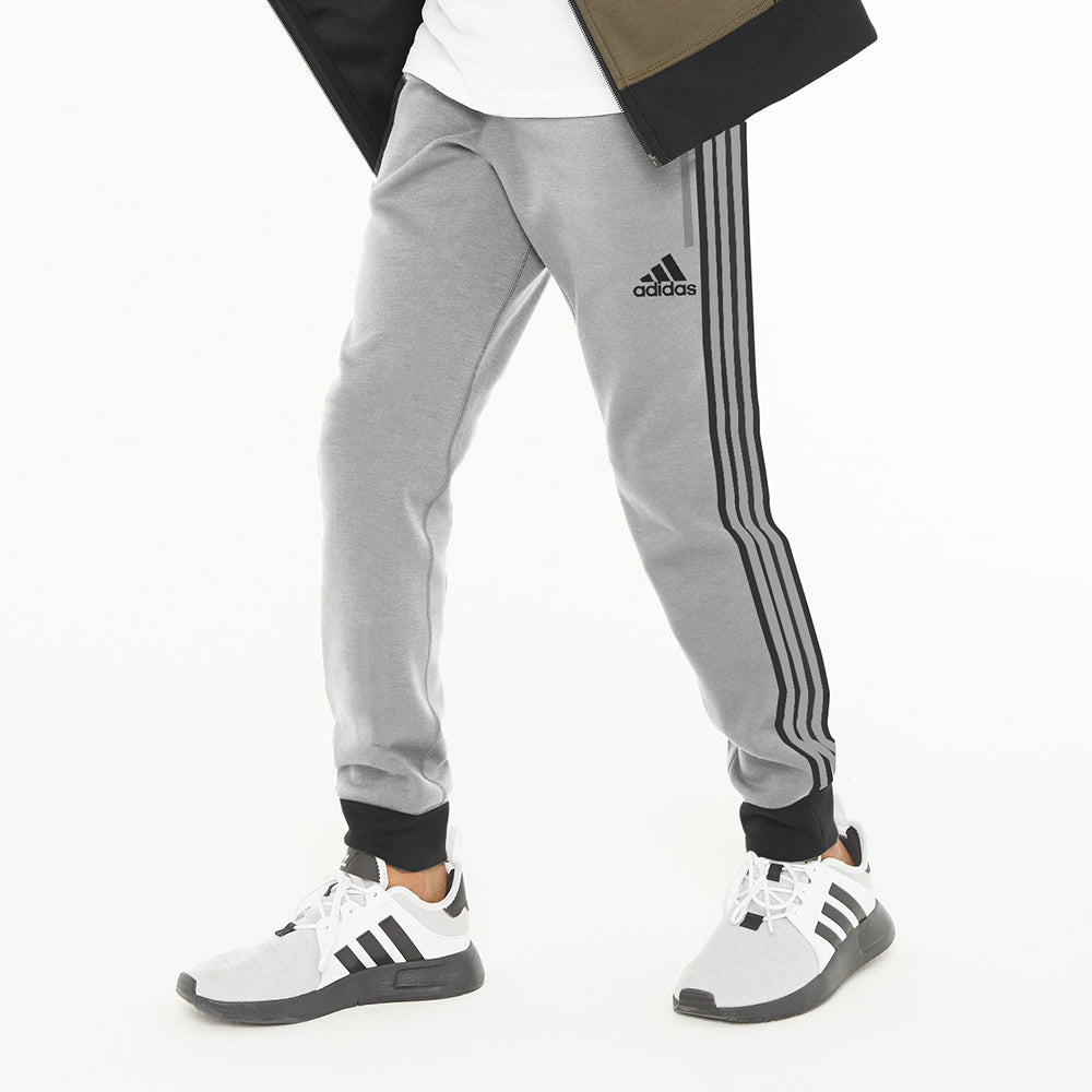 Adidas Single Jersey Jogger Trouser For Kids-Light Grey With Stripes-NA8665