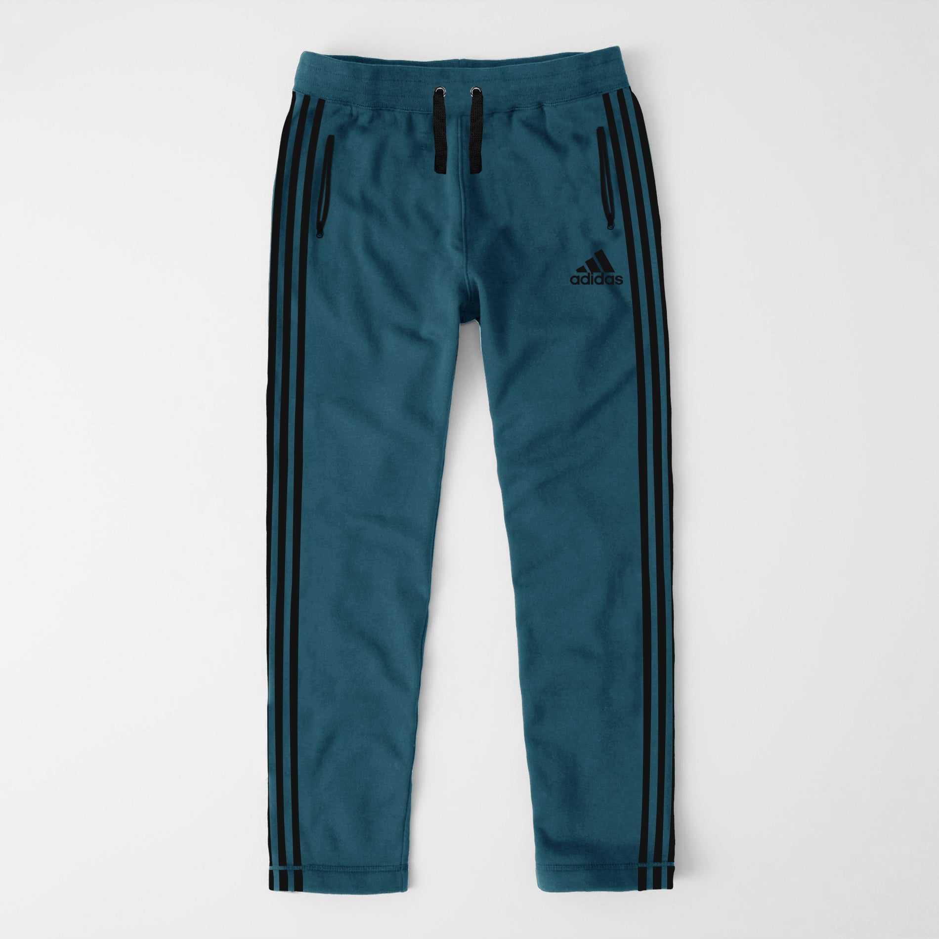 Adidas Single Jersey Regular Fit Trouser For Men-Cyan With Black Stripes-NA9360
