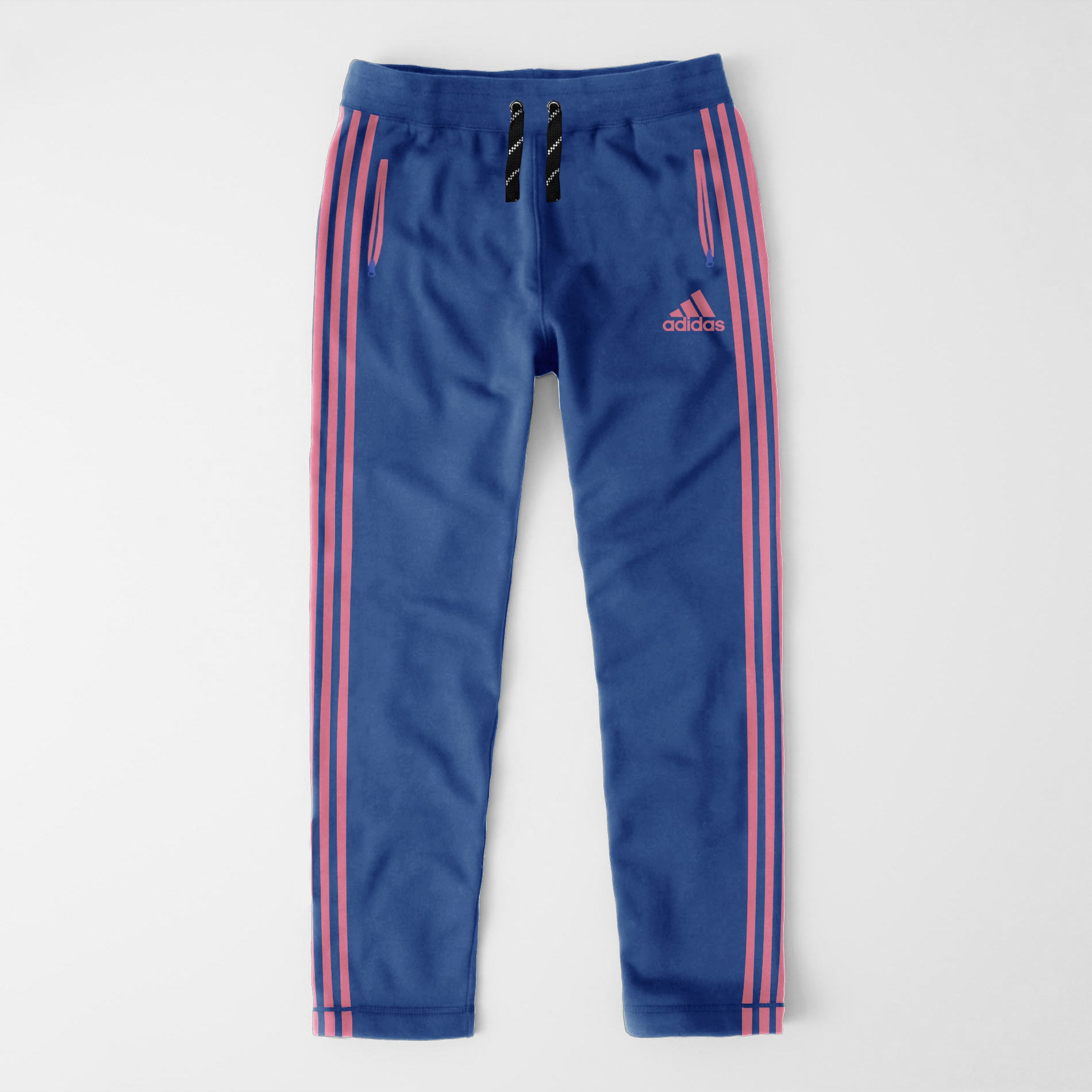 Adidas Single Jersey Regular Fit Trouser For Men-Dark Blue With Pink Stripes-NA8728