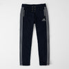 Adidas Single Jersey Regular Fit Trouser For Men-Dark Navy Melange With Grey Stripes-NA8254