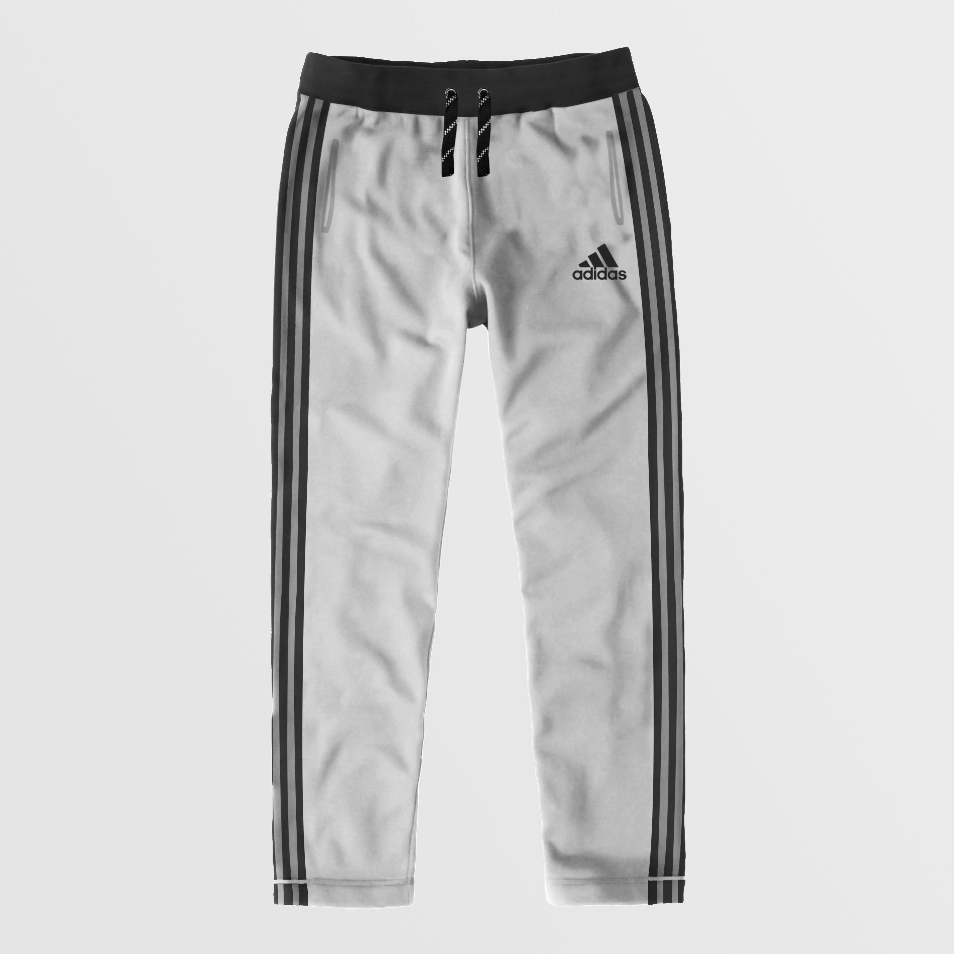 Adidas Single Jersey Regular Fit Trouser For Men-Light Grey With Charcoal Stripes-NA8793
