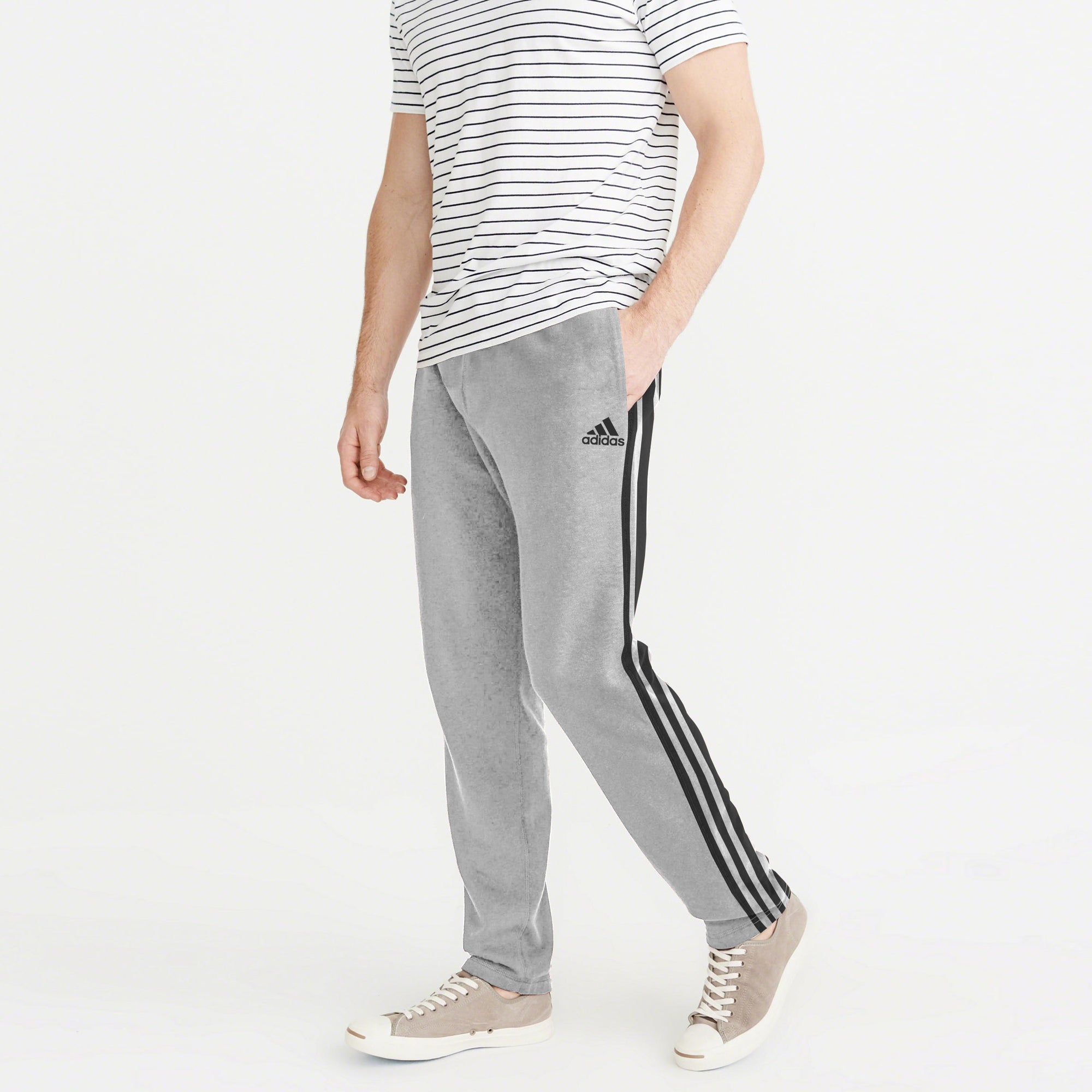 Adidas Single Jersey Regular Fit Trouser For Men-Light Grey With Stripes-NA8723