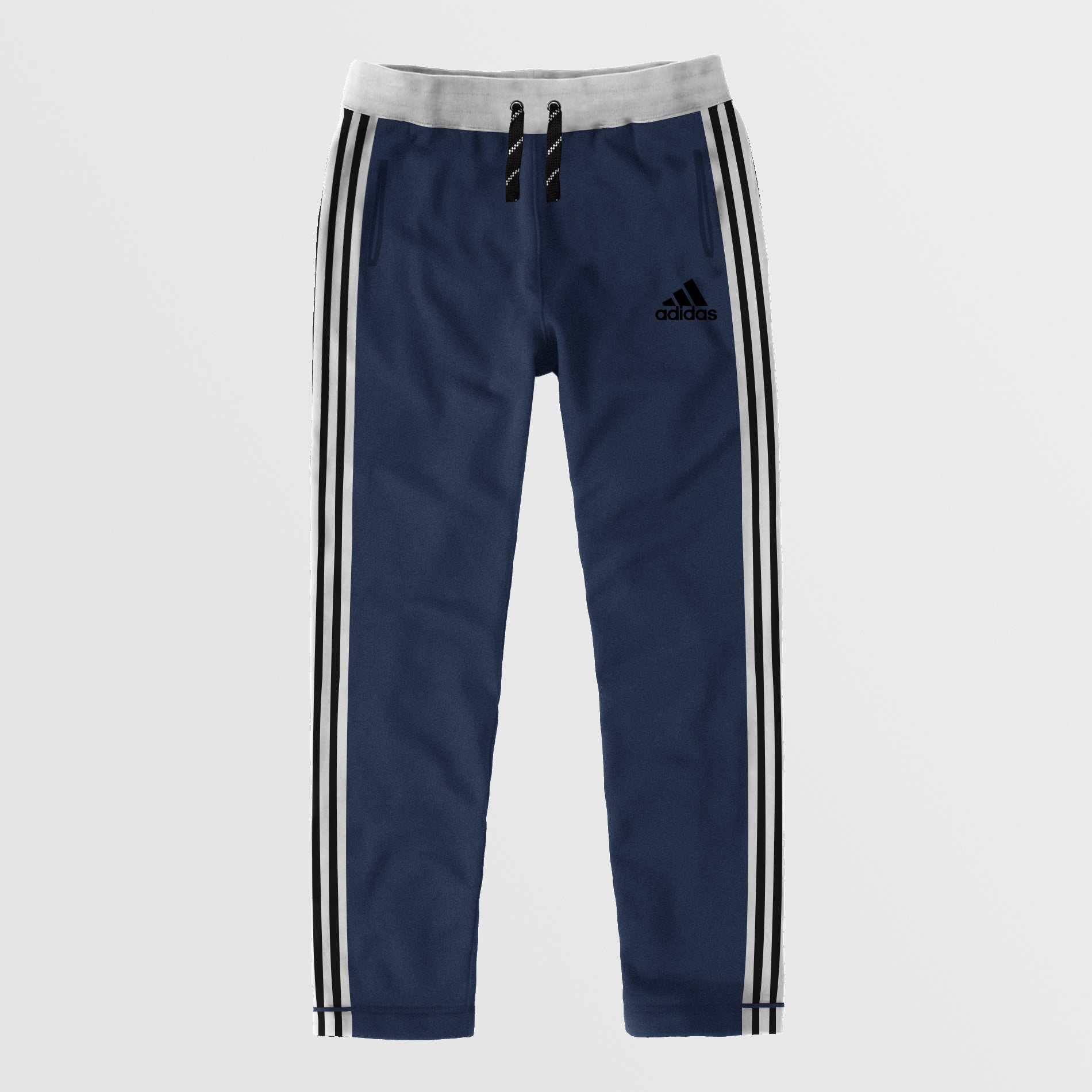 Adidas Single Jersey Regular Fit Trouser For Men-Light Navy Melange With Black Stripes-NA8795