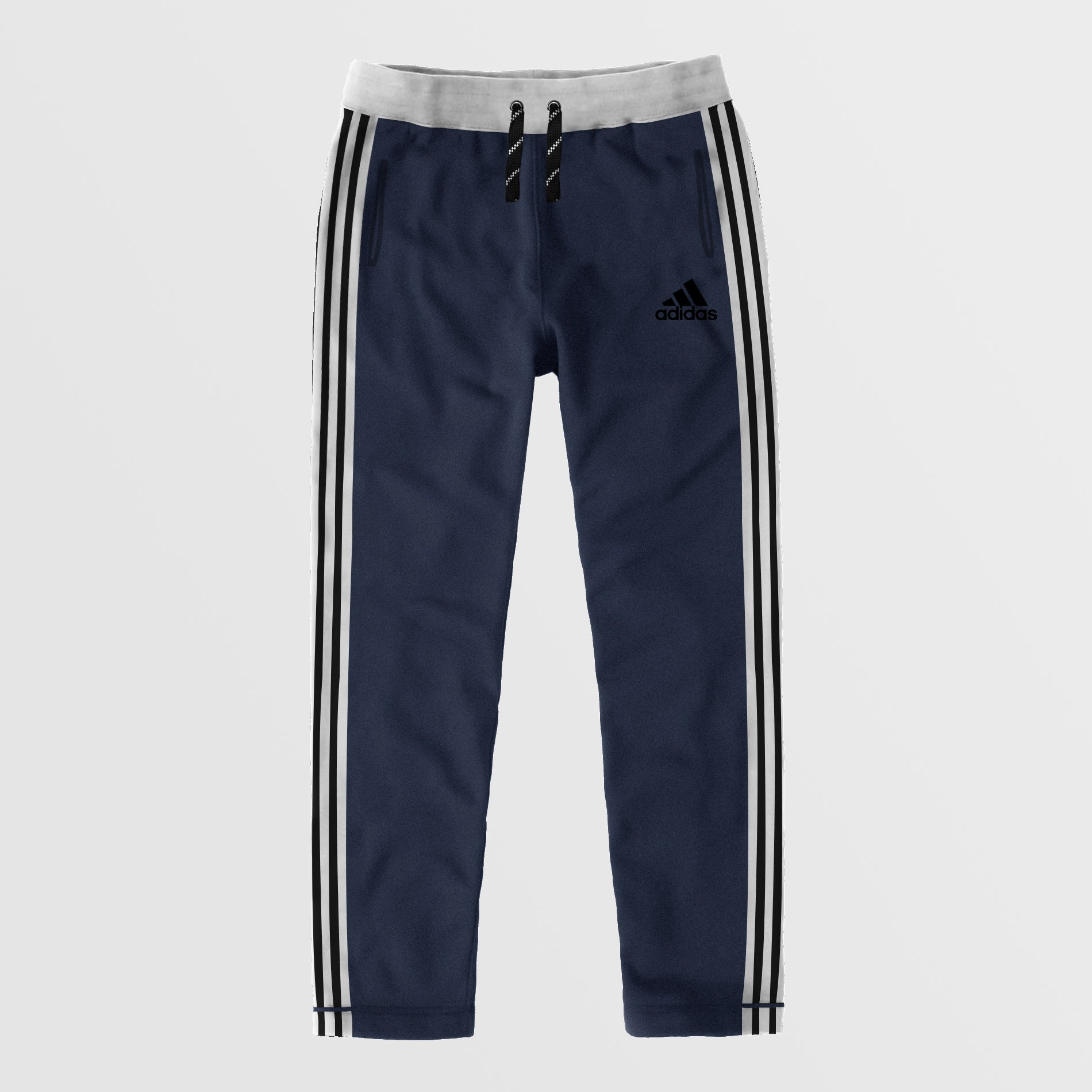 Adidas Single Jersey Regular Fit Trouser For Men-Navy Melange With Black Stripes-NA8794