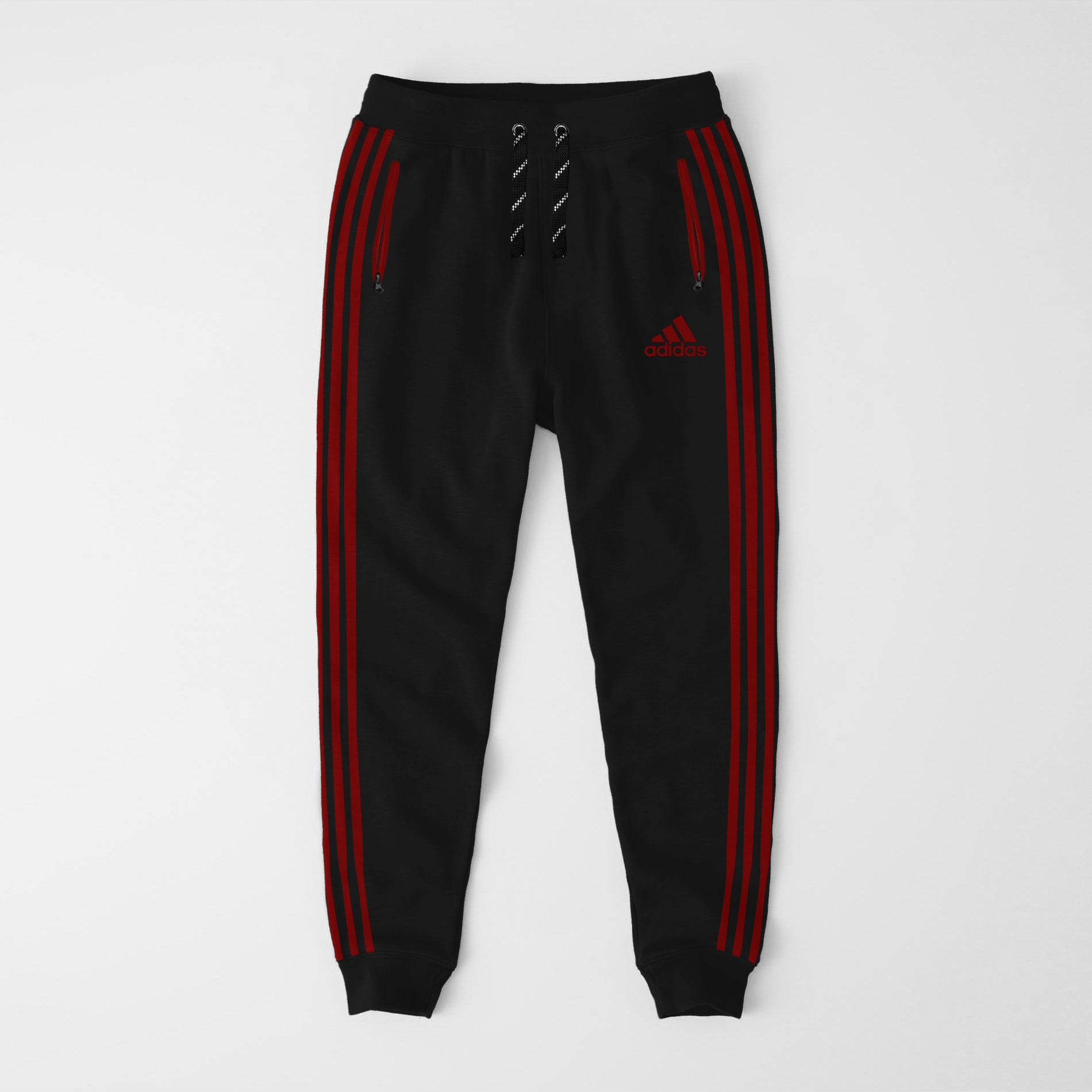 Adidas Single Jersey Slim Fit Jogger Trouser For Men-Black With Red Stripes-NA8247