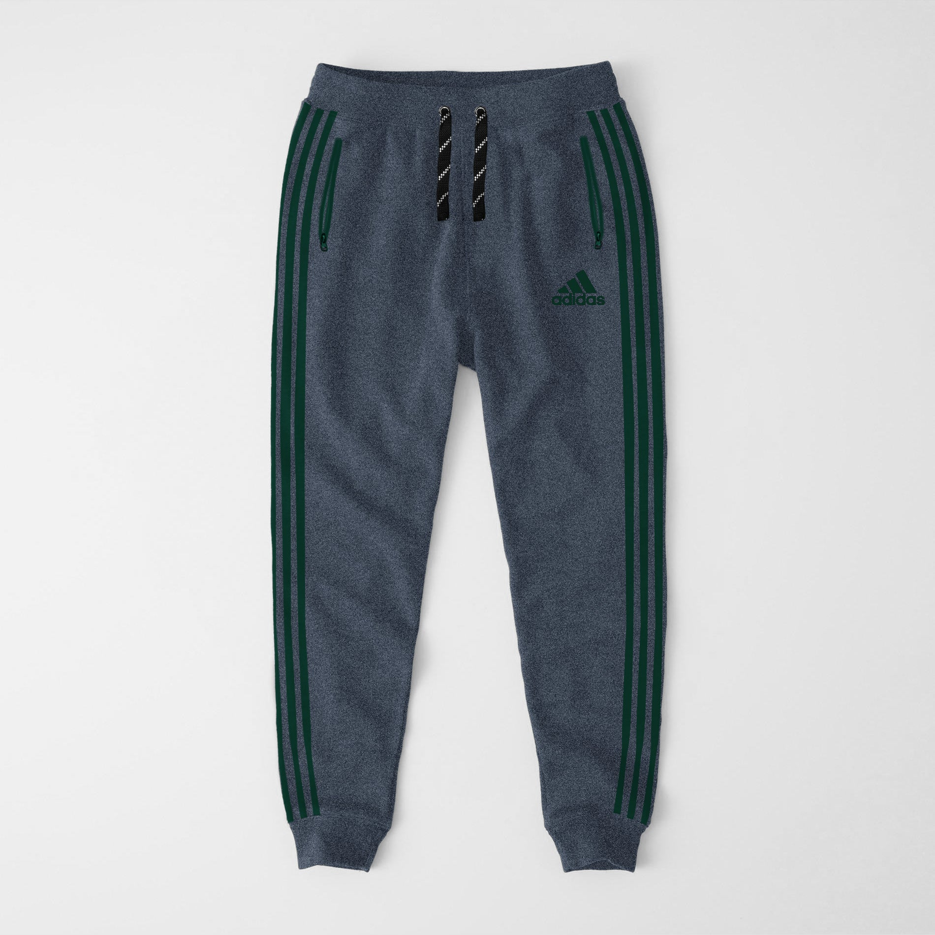 Adidas Single Jersey Slim Fit Jogger Trouser For Men-Blue Melange With Green Stripes-NA8257