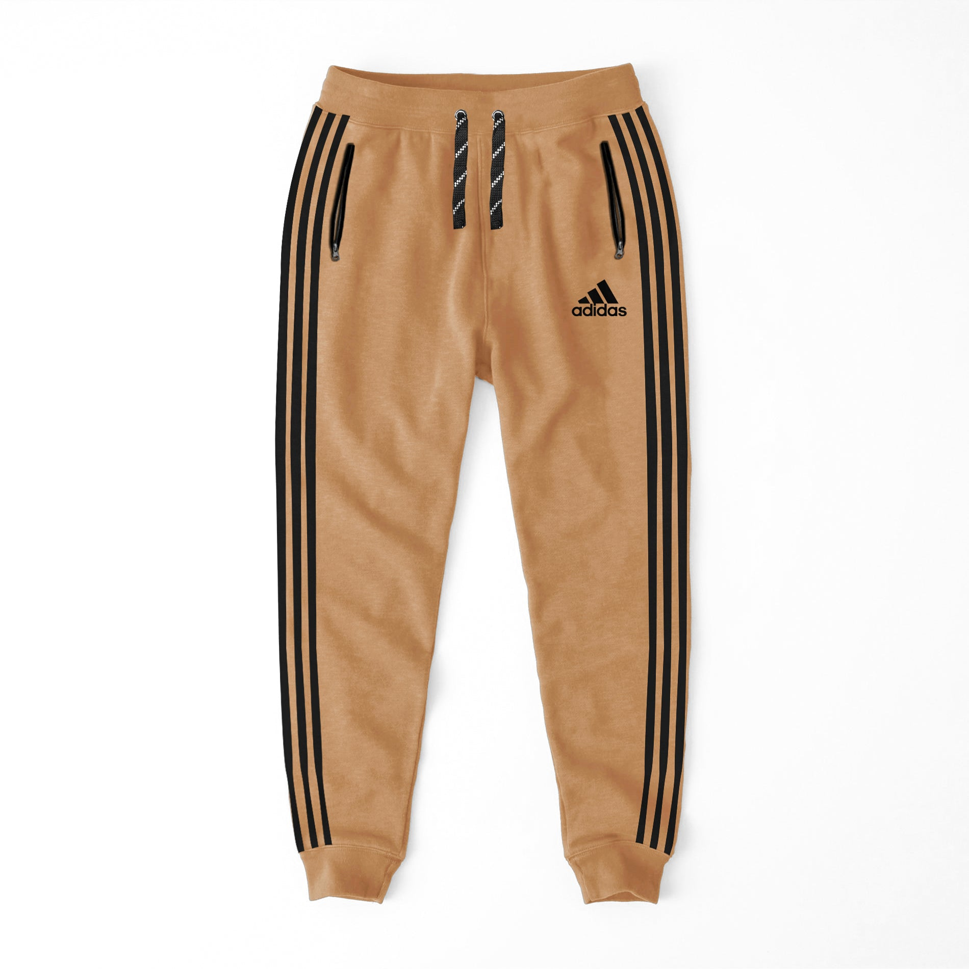 Adidas Single Jersey Slim Fit Jogger Trouser For Men-Camel With Black Stripes-NA8723