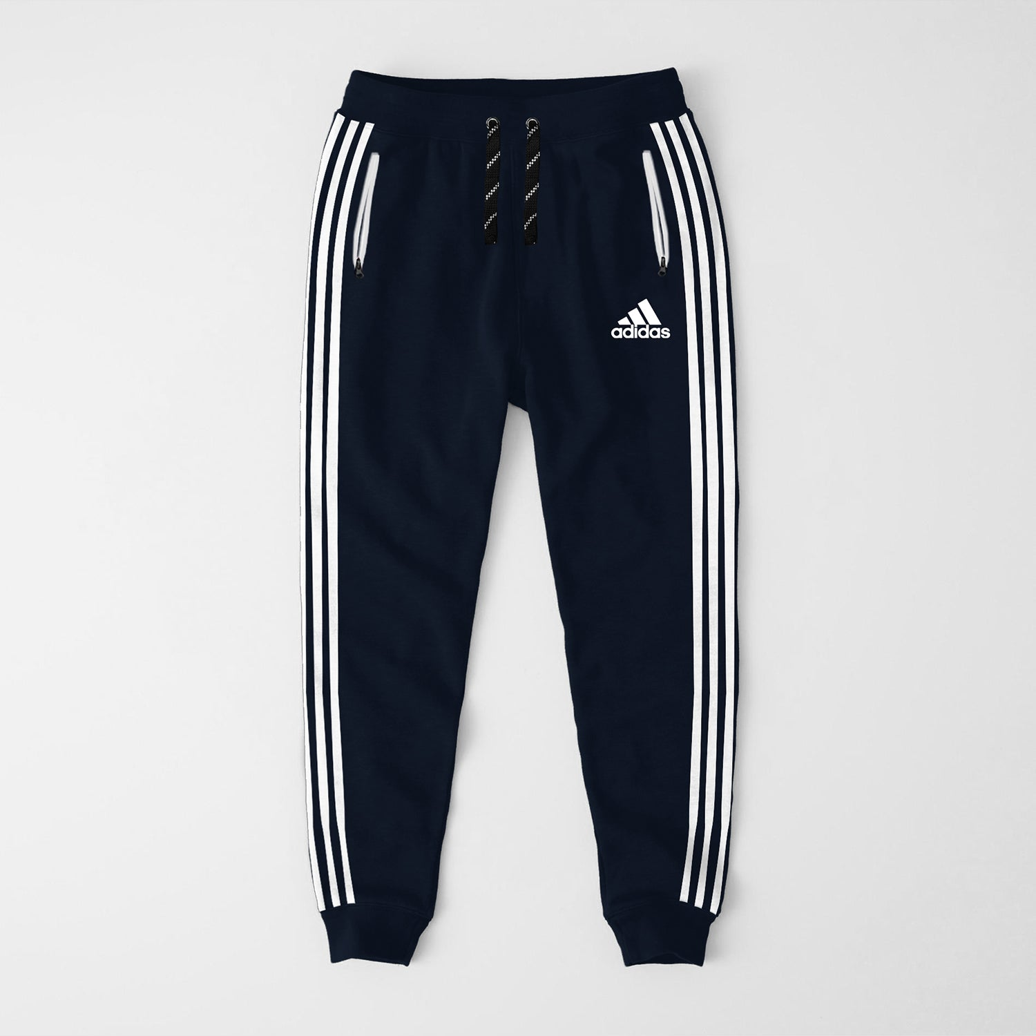 Adidas Single Jersey Slim Fit Jogger Trouser For Men-Dark Navy With White Stripes-NA8248