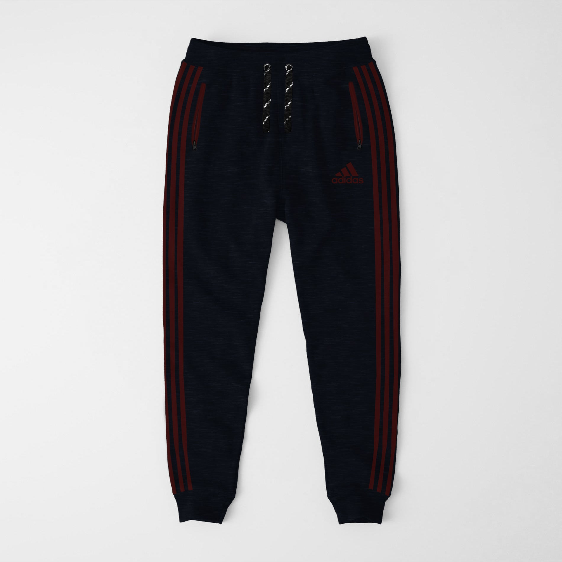 Adidas Single Jersey Slim Fit Jogger Trouser For Men-Dark Navy Melange With Burgundy Stripes-NA8252