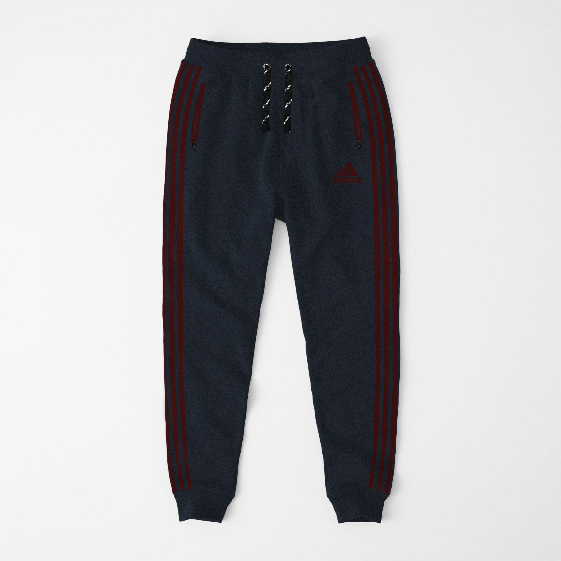 Adidas Single Jersey Slim Fit Jogger Trouser For Men-Dark Navy Melange With Burgundy Stripes-NA8259