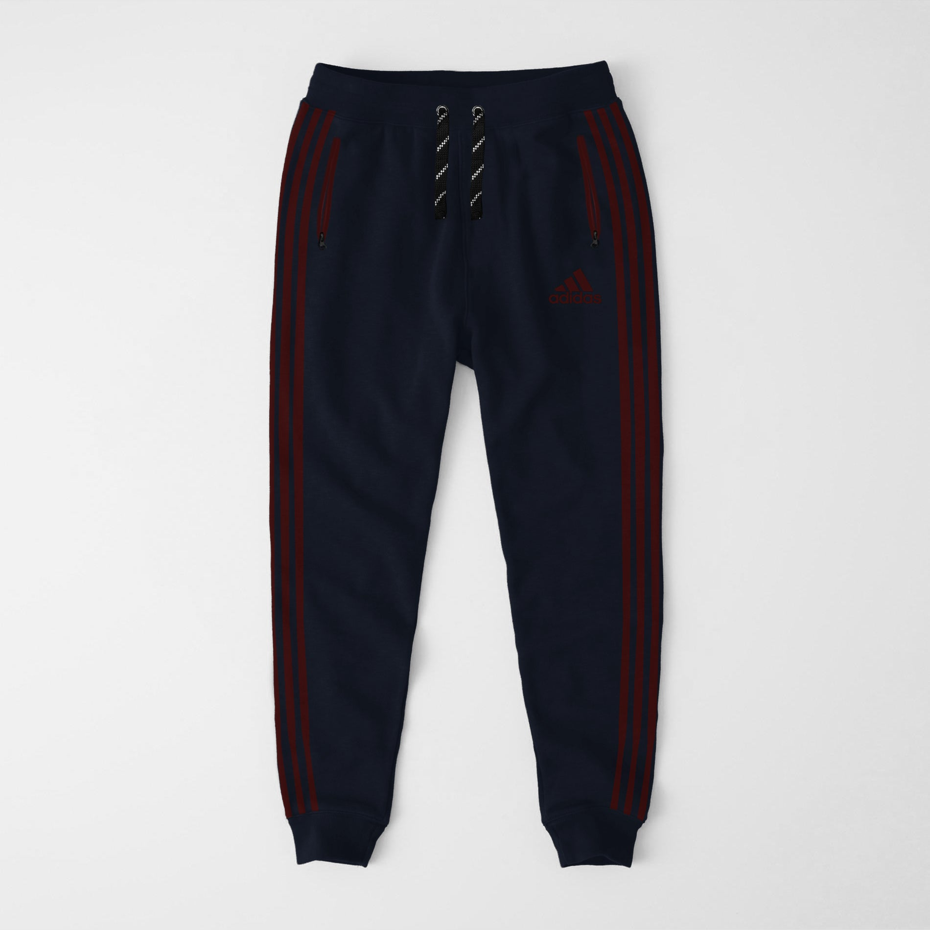 Adidas Single Jersey Slim Fit Jogger Trouser For Men-Dark Navy With Burgundy Stripes-NA8251