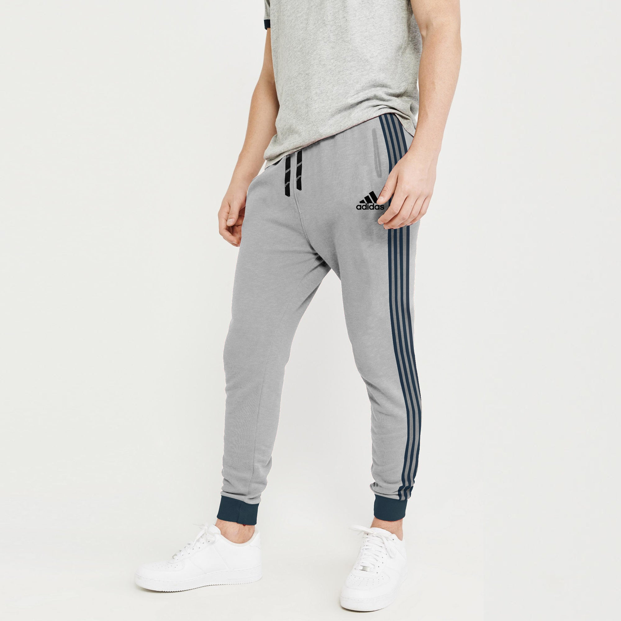 Adidas Single Jersey Slim Fit Jogger Trouser For Men-Light Grey With Navy Stripes-NA8792