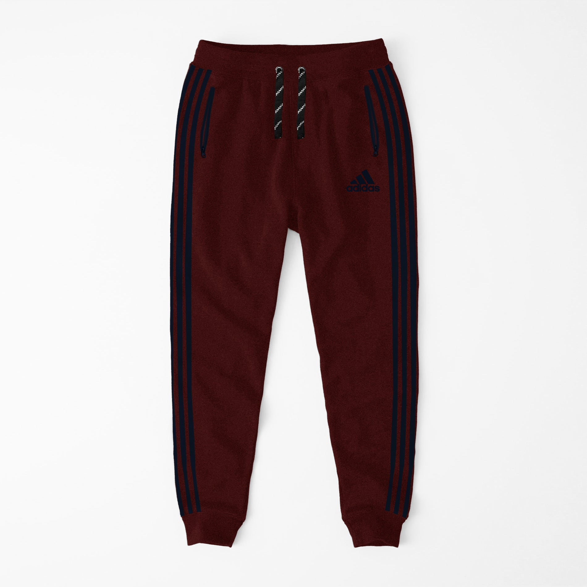 Adidas Single Jersey Slim Fit Jogger Trouser For Men-Red Melange With Dark Navy Stripes-NA8253