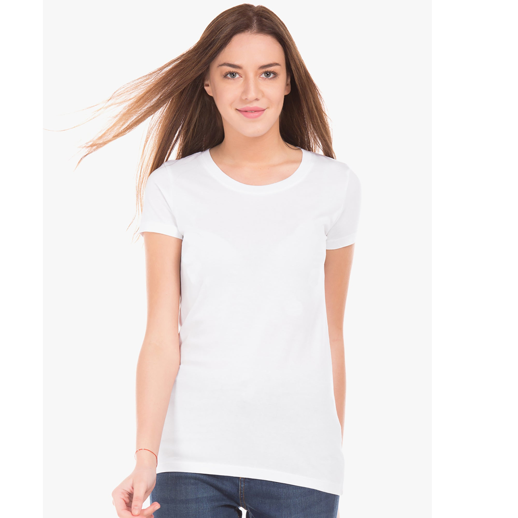 brandsego - Fat Face Single Jersey Crew Neck Blouse For Ladies-White-BE4956