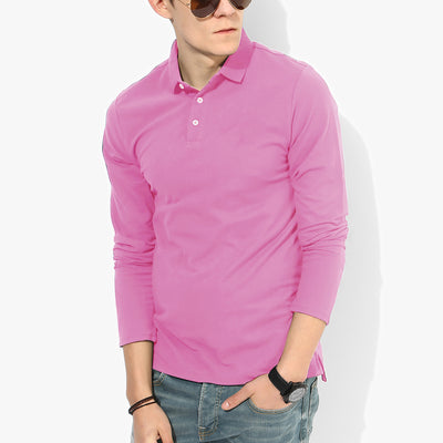 brandsego - Aéropostale Exclusive Long Sleeve Polo Shirt-Light Pink-BE4162