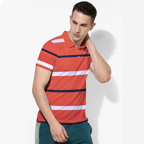 Next Polo Shirt For Men-Orange Blue & White Striped-BE2014